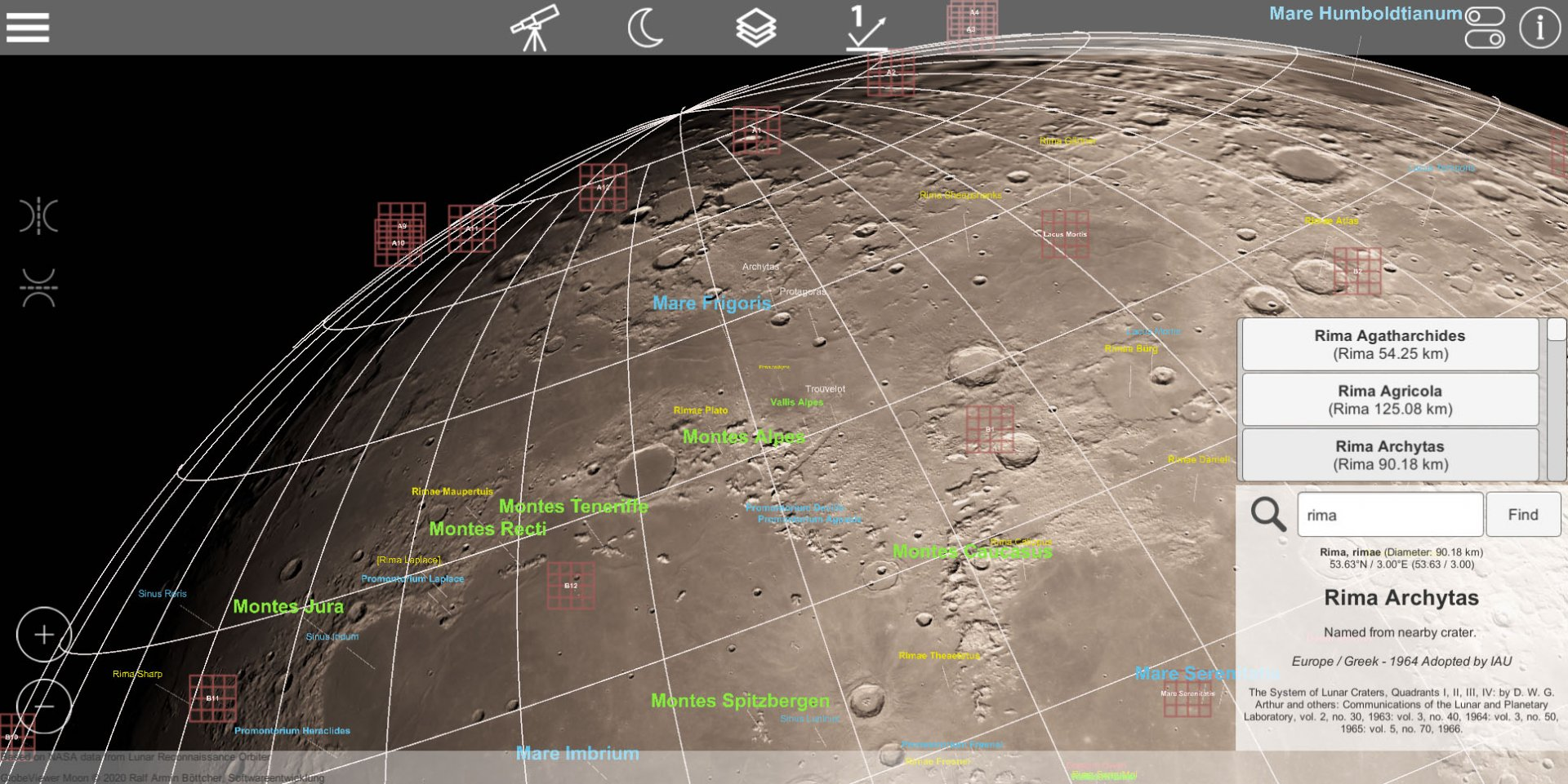 GlobeViewer Moon 0.5.1: Feature Search