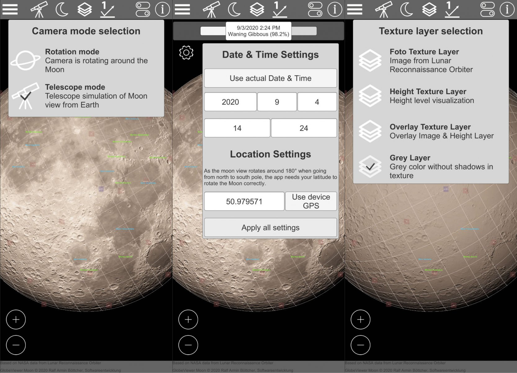 GlobeViewer Moon Preview Version 0.5.0