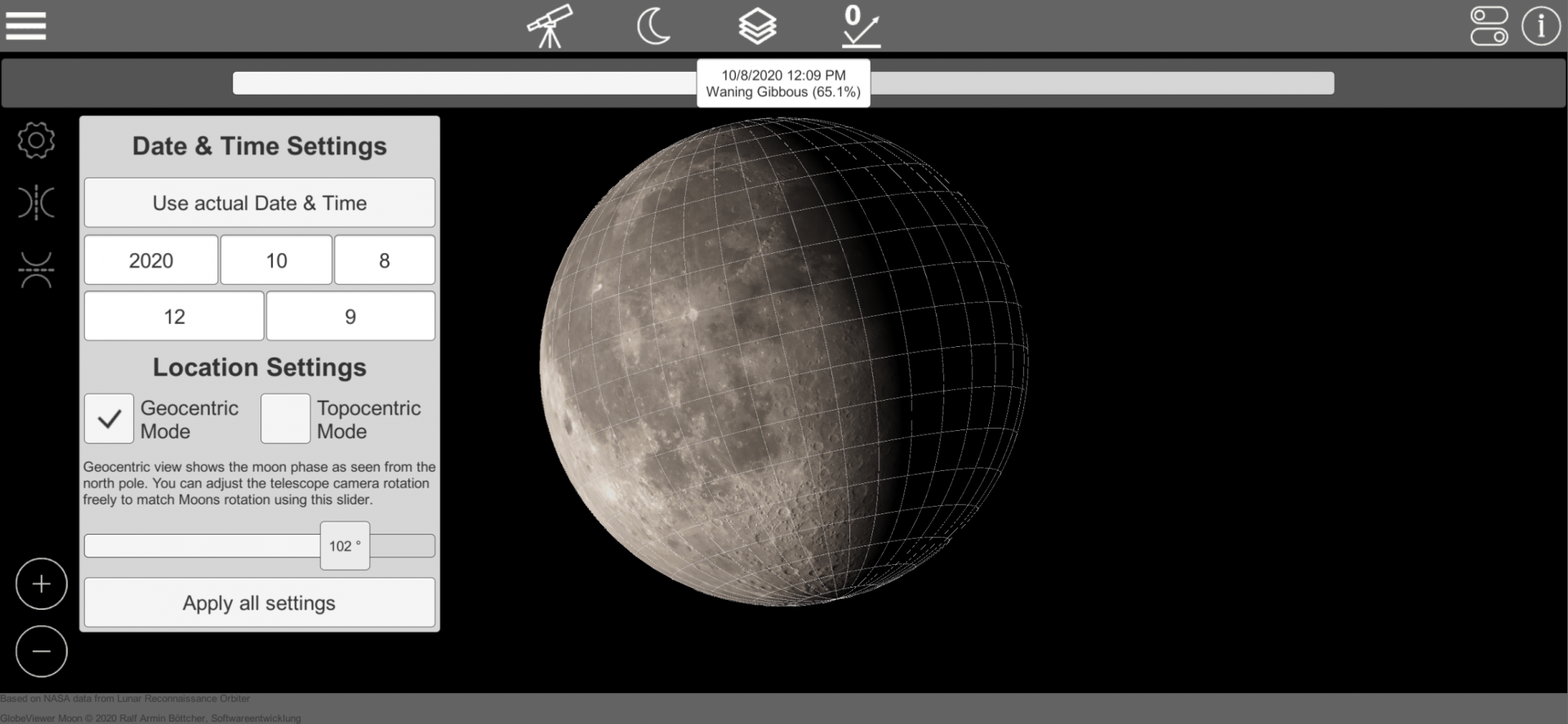 GlobeViewer Moon: Geozentische Drehung