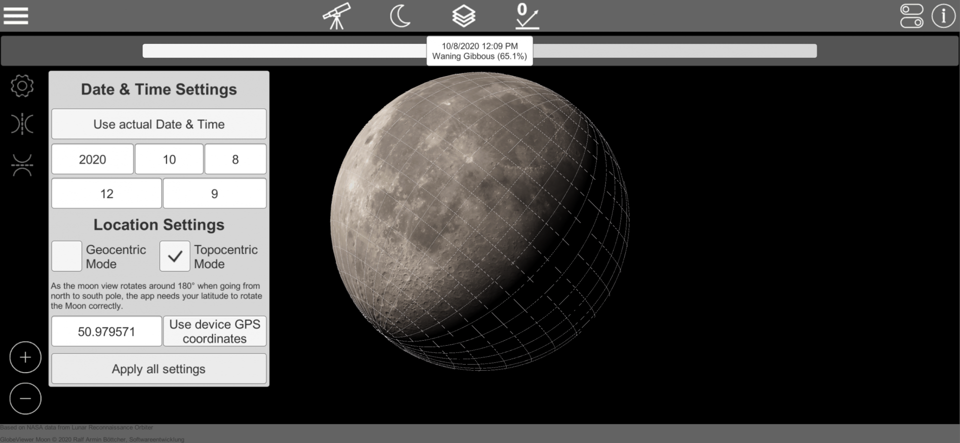 GlobeViewer Moon: Topozentische Drehung