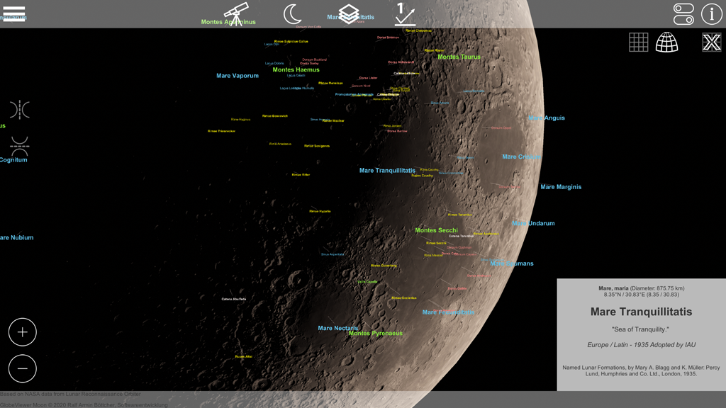 GlobeViewer Moon Version 0.5.0 ist online!