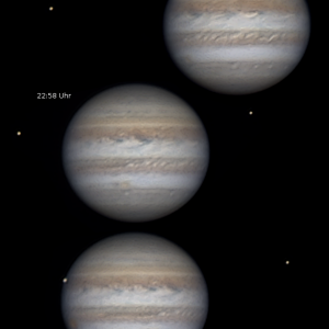 Jupiter Animation fast 3 Std. mit Mondereignissen