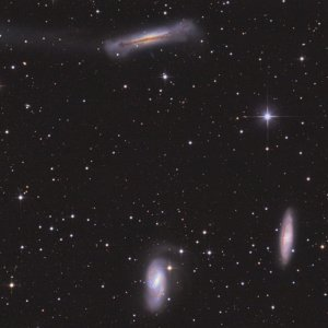 Leo Triplet Spiral Galaxies M65, M66 & NGC 3628