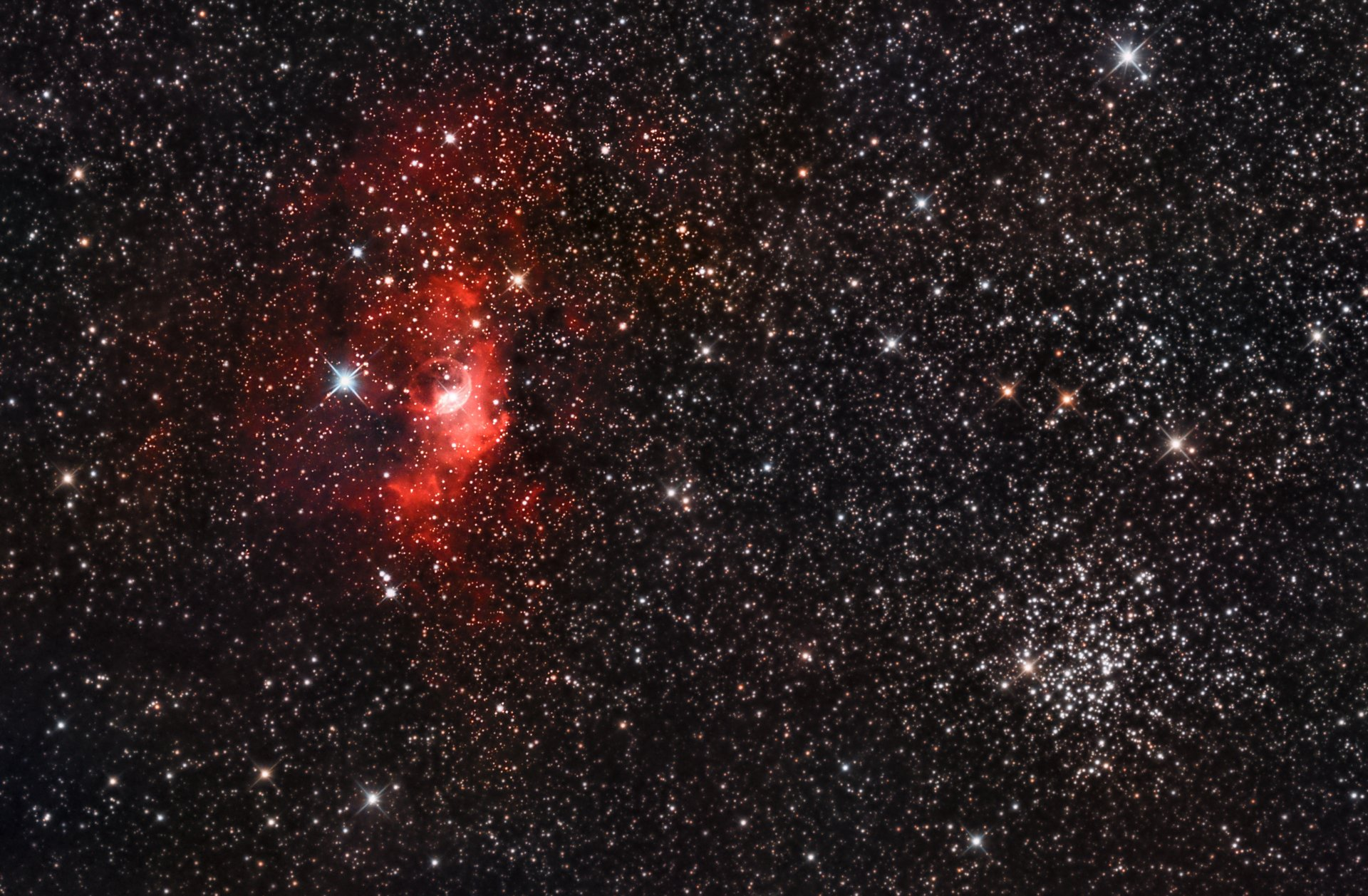 NGC 7635 Bubble Nebula & Open Cluster Messier 52